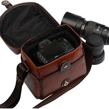 Sac pour appareil photo, Fome Étui style vintage Sac en cuir PU pour appareil photo DSLR Canon Nikon Sony Pentax + Cadeau Fome