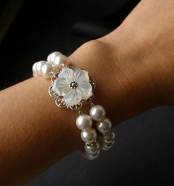 Rhinestone Pearl Bracelet Mother of Pearl Flower by luxedeluxe, $72.00