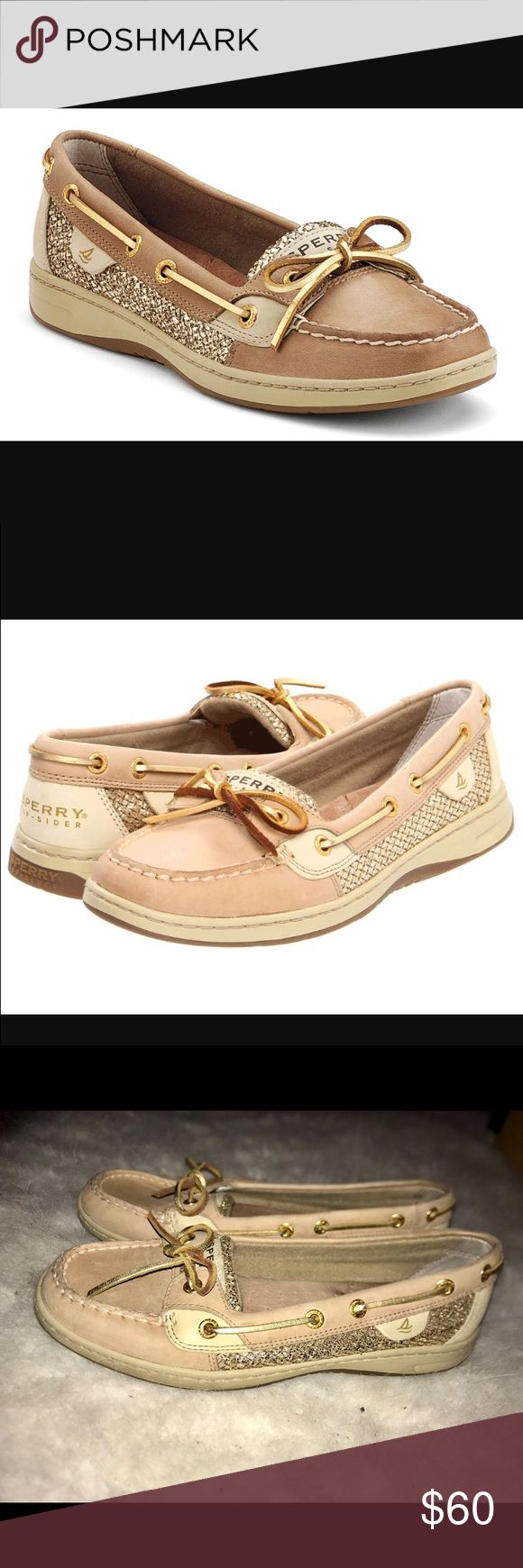 Gold Sperrys Gold Sparkly Glitter Sperrys! In beautiful condition. Lots of padding in the sole and extremely comfortable. Women's size 8M. Will ship out day of purchase! Sperry Top-Sider Shoes Flats & Loafers