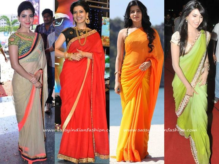 Samantha in Plain Saree and Designer Blouses
