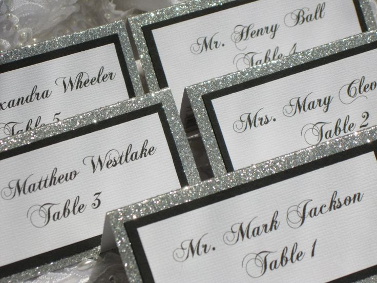 """If I decide to do placecards..I love the design: on our """"address labels"""", stuck on black paper, glitter paper (no """"tent glitter"""" paper)"""