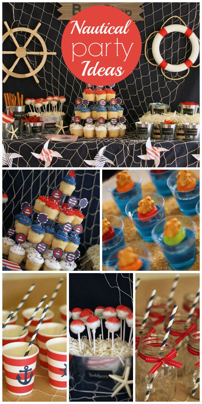 A red, white and blue Nautical boy birthday party with jello cups, cupcakes and cake pops! See more party planning ideas at CatchMyParty.com!