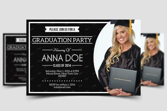 Simple Graduation Invitation by meisuseno on @creativemarket