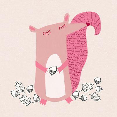 illustration écureuil rose et ses noisettes <3 print & pattern