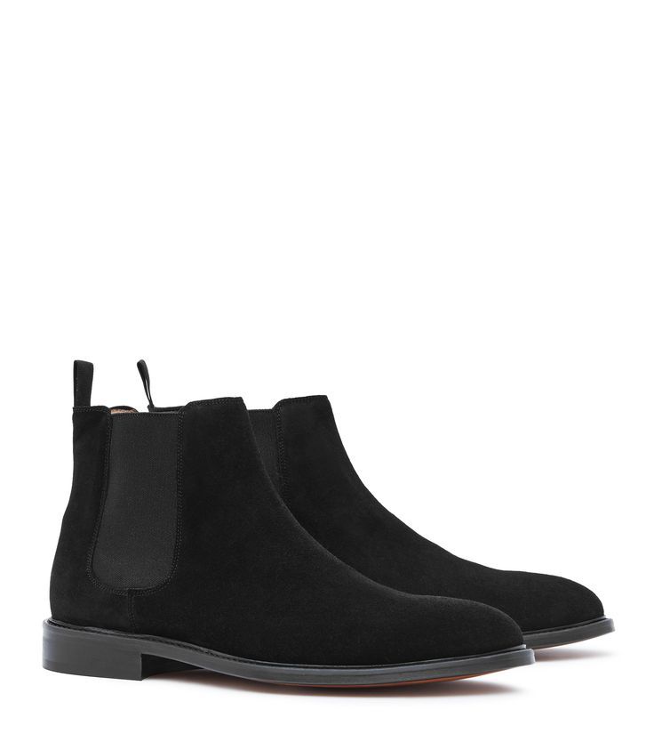 Mens Black Suede Chelsea Boots - Reiss Tenor Suede