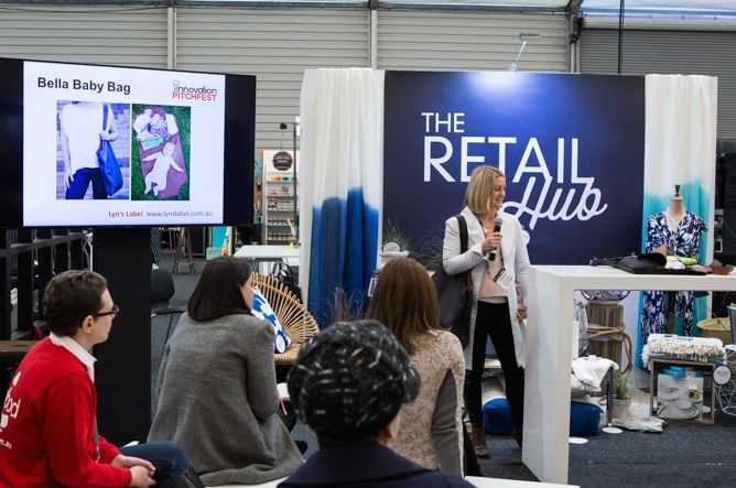 Presenting the Bella Baby Bag at the The Reed Gift Fair's 'The Retail Hub'. Fourth Place for Innovative Product Design - not bad!