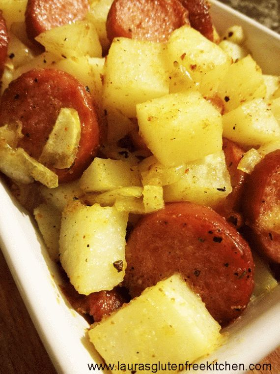 Gluten Free Smoked Sausage Hash Potatoes --- This delicious Gluten Free Smoked Sausage Hash Potatoes are ready in less than 50 minutes! A flavorful mix of hearty smoked sausage and crispy potatoes. This dish is perfect for any meal of the day.