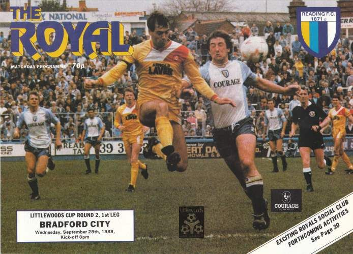 Reading 1 Bradford City 1 in Sept 1988 at Elm Park. The programme cover for the League Cup 2nd Round, 1st Leg tie.