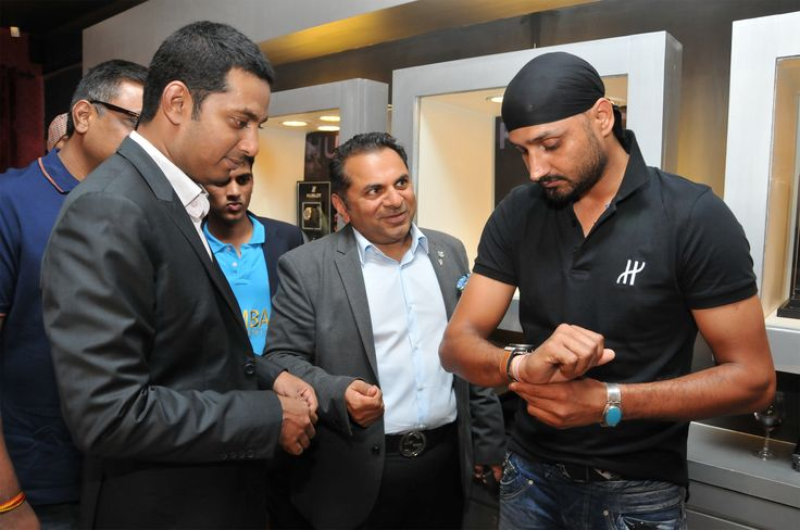 Harbhajan Singh trying on the Hublot Chukker Bang at Rose - The Watch Bar