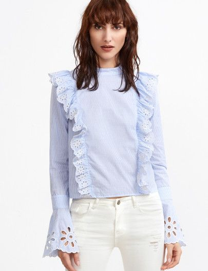 Blue And White Striped Button Back Eyelet Embroidered Ruffle Blouse