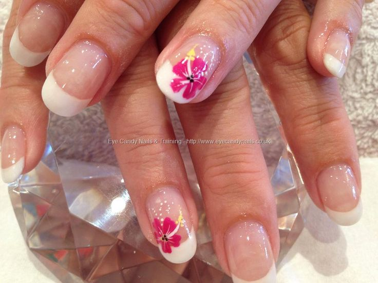 White acrylic backfill with freehand nail art, I love the simplicity of the one flower! matching pedicure with flowers on big toes?