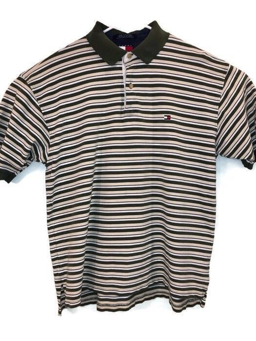 4f604e6a VTG Tommy Hilfiger Mens Large Striped Polo Green 100% Cotton Spell Out Box  Logo #