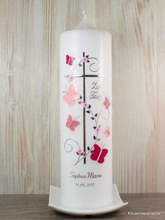 Doop kaars kruis vlinders roze | Etsy  – Kerzen