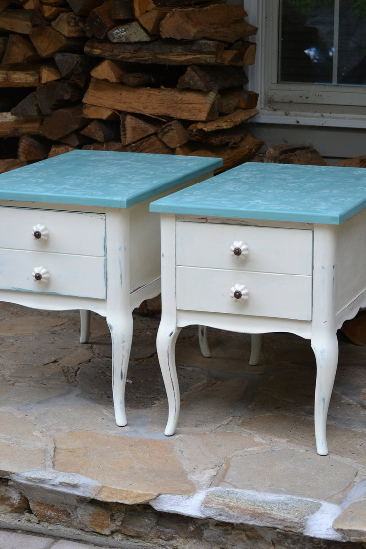 shabby chic hand painted french provincial turquoise teal pair of end tables