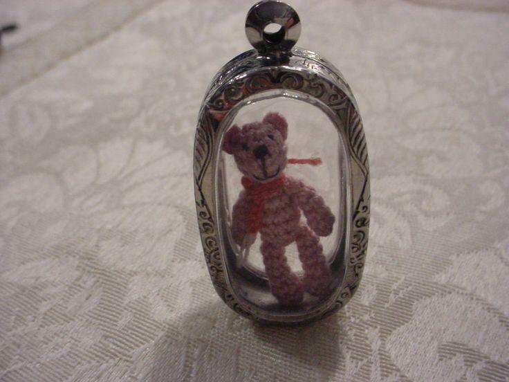 Tiny Micro Mini Teddy Bear Inside See Through Locket Miniature Case Pendant OOAK | eBay
