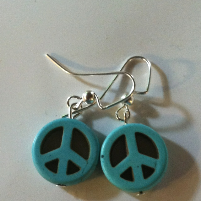 Turquoise Peace sign earrings.  Small turquoise peace sign earrings accented by silver French wires.
