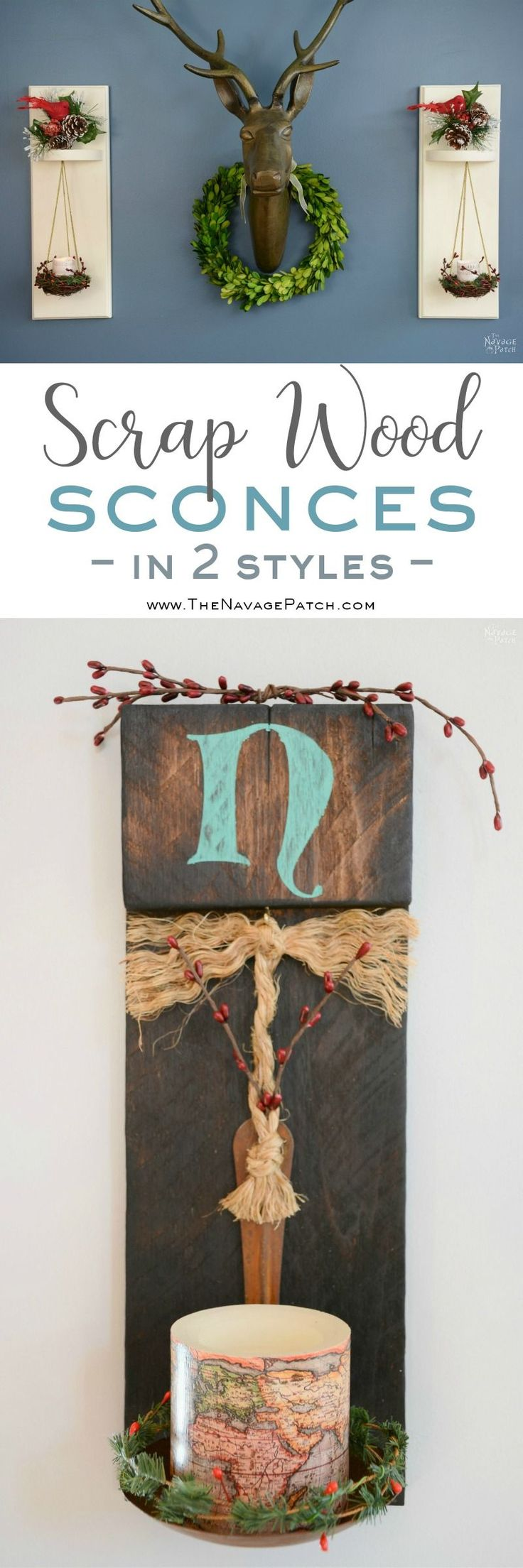 Scrap Wood Sconces | How to make sconces from scrap wood, ladle and bird nest | Farmhouse style home decor | Simple rustic wood sconces | Easy wood burning technique | How to burn wood| Easy woodworking | Upcycled ladle and bird nest | How to stencil | TheNavagePatch.com