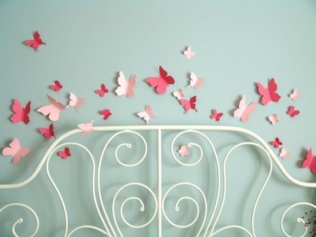 Butterfly flying wall stickers in two shades of pink