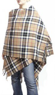 100% Lambswool Capes, Thomson Camel Plaid, popular fashionable attire for any equestrian.  Sold at Exclusively Equine Gifts & Decor.