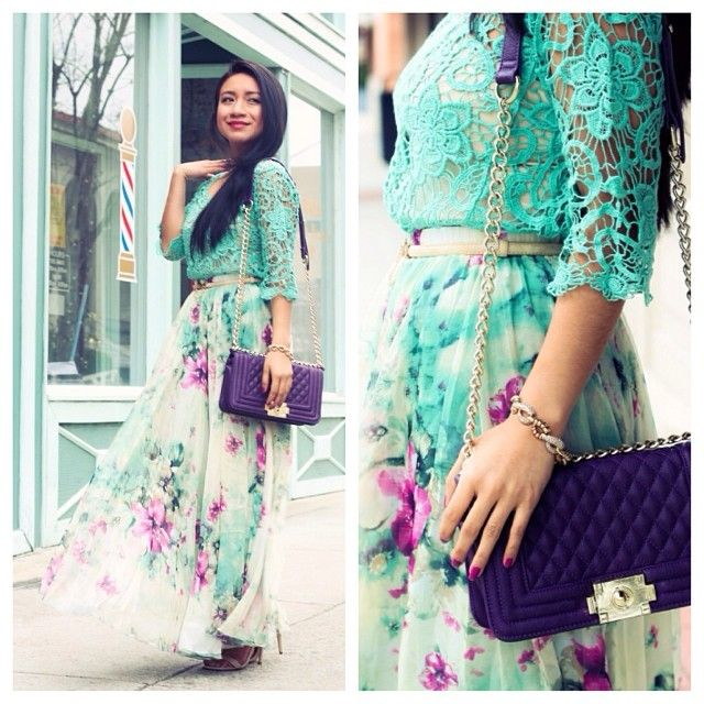 Floral Blue | TIP: Forget the lace print, replace with a modest blue blouse for a hijabified look. | Inspiration for Hijab, hijab style, hijab fashion