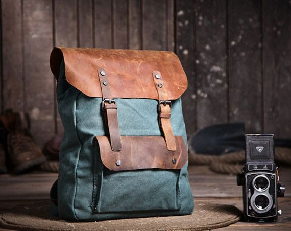 Handmade Leather Canvas Backpack  Blue Canvas Backpacks  Student Canvas Backpack on Etsy, 393,33kr