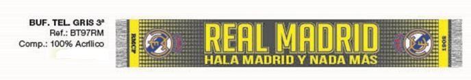 BUFANDA REAL MADRID GRIS  Este artículo lo encontrará en nuestra tienda on line de complementos www.worldmagic.es info@worldmagic.es 951381126 Para lo que necesites a su disposición