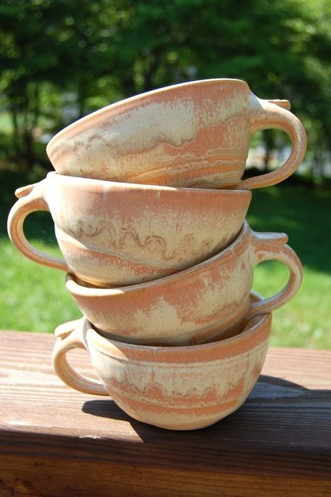 Set of Four Cappuccino Mugs Made to Order by pagepottery on Etsy