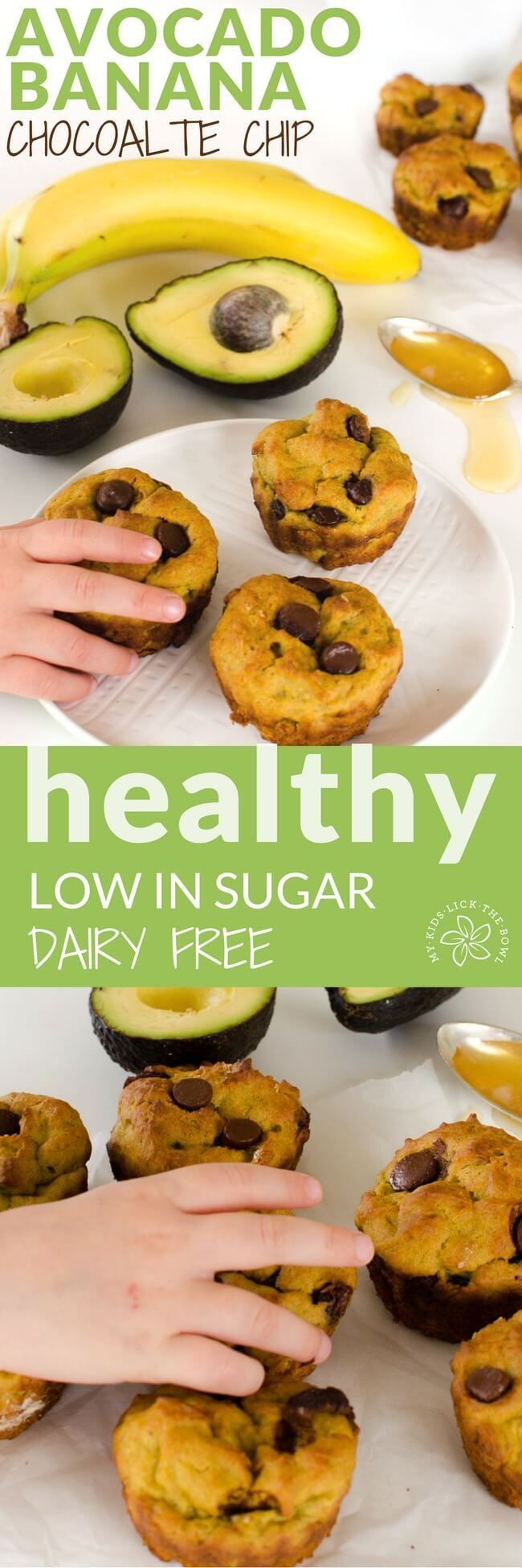 Avocado banana muffin recipe, chocolate chip, healthy, dairy free, low sugar, for kids, healthy snack, kids in the kitchen cooking with kids