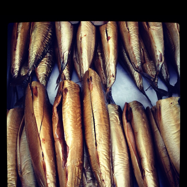 Smoked fish in the market