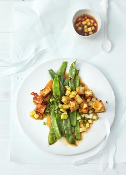 Rezept Schnibbelbohnen mit Tofu und Ananas-Salsa