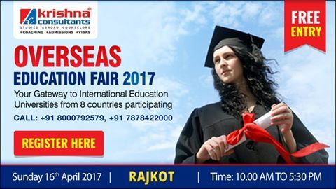 Seize the opportunity to attend much anticipated Overseas Education Fair at Rajkot for higher studies at Hotel Grand Regency, Near Mehta Petrol Pump, Dhebar Road, Bhakti Nagar, Millpara, Rajkot, Gujarat 360002 on Sunday, 16th April 2017 from 10.00 AM to 5.30 PM for courses at #Bachelors and #Masters levels for September 2017 & January 2018 intakes.   Special privileges being offered to students   1. Free Entry. 2. No service charges for admissions. Register here…