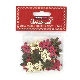 Hobbycraft Christmas Small Wooden Gingerbread Men Embellishment 40 Pack