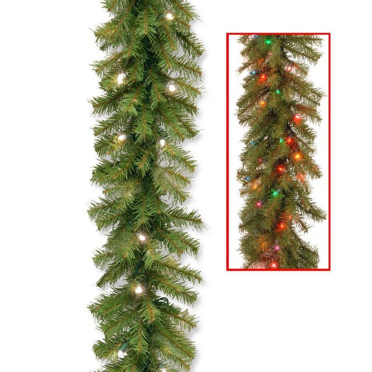 Color Changing Christmas Garland Pre Lit 50 Battery Operated LED 9' Decoration  #NationalTreeCompany