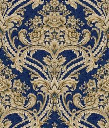 Navy and gold damask wallpaper from St. Augustine by York Wallcoverings. Would make for a gorgeous foyer wallpaper.