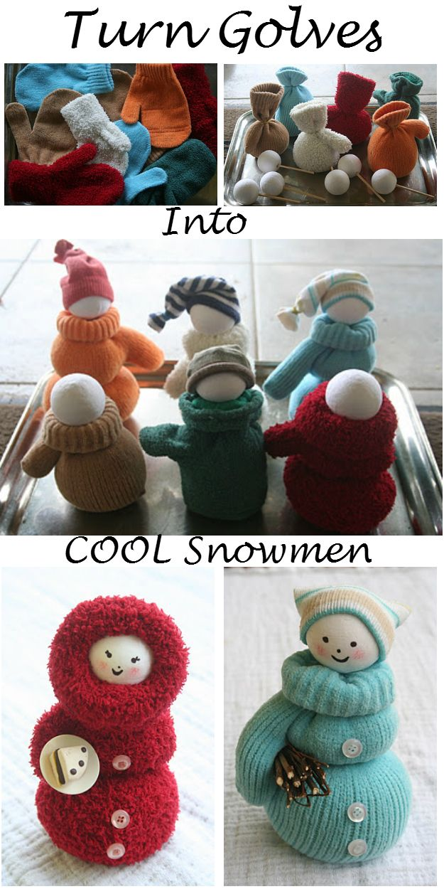 Finally something to do with those left over mittens without a match. funky ,cute japan kawaii style sock,glove snowman plushie toy decorations incute clothes ,hats and coats