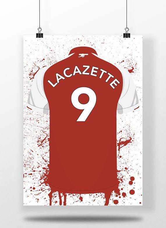 Lacazette Arsenal Illustrated Football Shirt Print