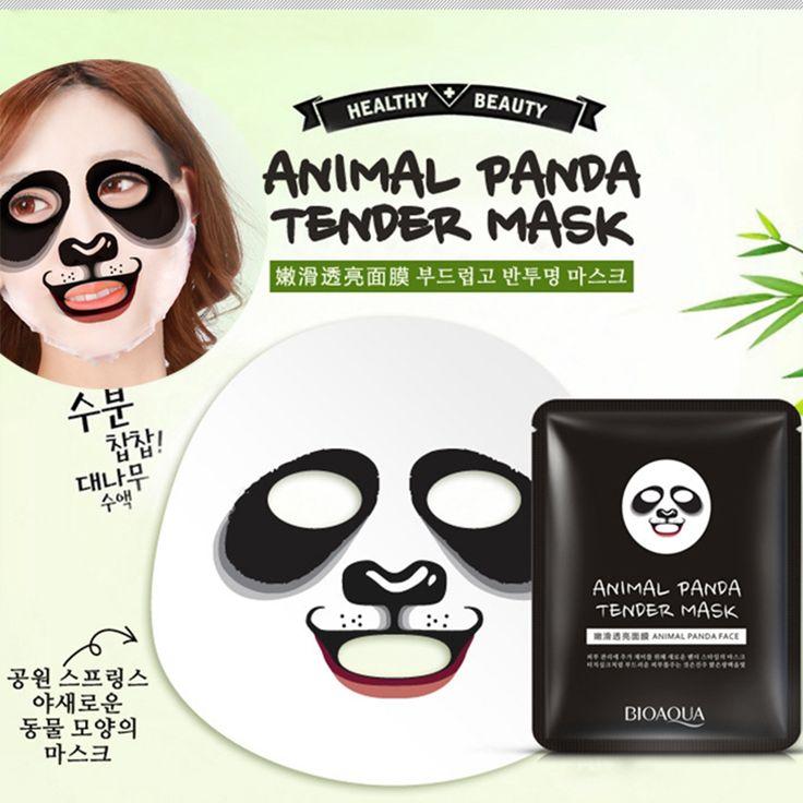סדרת בעלי חיים פנדה חמודה BIOAQUA פנים מסיכת לחות שליטת שמן מסיכת לחות מרגיעה הנקבוביות עטוף מסכות פנים
