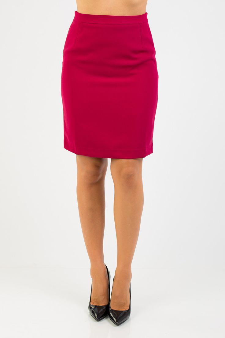 Прямая бордовая юбка Remix. Миди юбка-карандаш, средней длины. Yatto.ru
