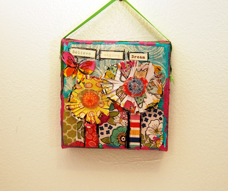 This Cute Mini Mixed Media Original Art On Canvas Has Flowers With Beaded Jeweled Centers And