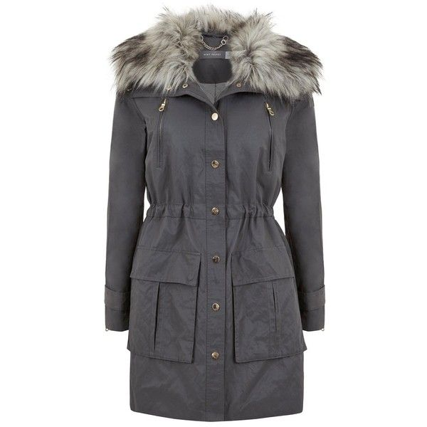 Mint Velvet Faux Fur Trim Parka, Grey (£169) ❤ liked on Polyvore featuring outerwear, coats, women coats, faux fur trim hooded coat, lightweight trench coat, parkas and hooded parka coat