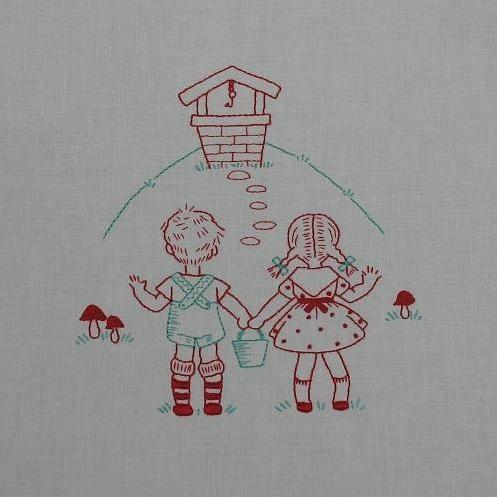 Jack & Jill en 'redwork'