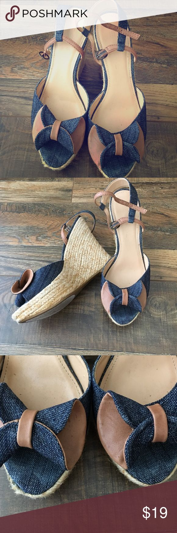 Circa Joan&David Circa Joan&David Wedges. Blue jean bows. Jute two tone sides. Gently worn Joan & David Shoes Wedges