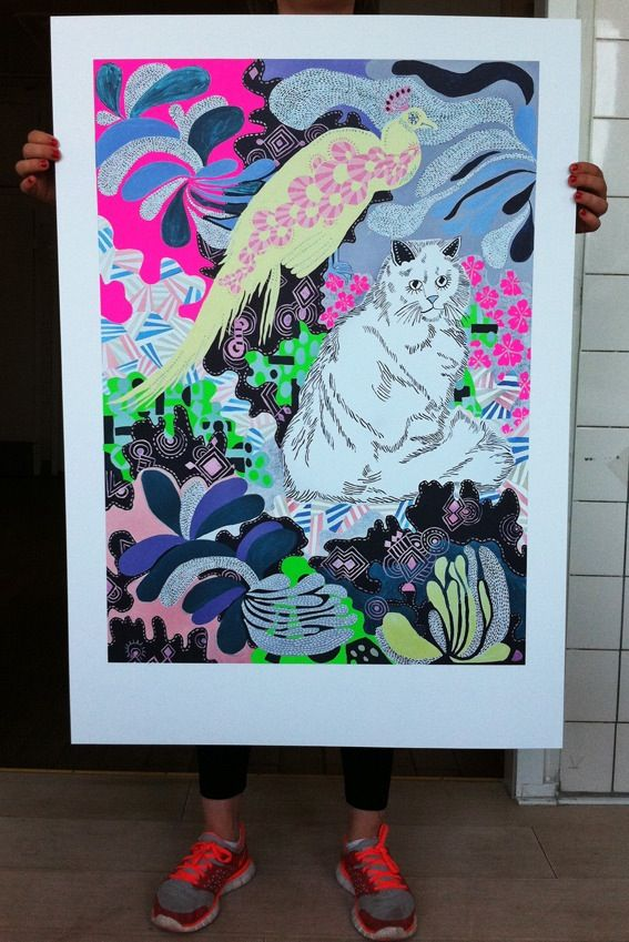 """Offset Print signed and numbered. Color and Neonpink and neon Green. Printed on 150 gr. uncoated paper.Size 70 x 100 cm Edition of 500 piecesMade from the original painting called """"NightWalkers""""Painted by Lisa Grue."""
