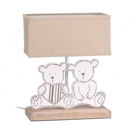 Iluminación para habitación infantil. Lámpara de mesa infantil en madera Modelo Dos Ositos, con estructura de madera con la figura de dos ositos sentados y pantalla de tejido:      Medidas : 12x25x31 cm     Color: Marrón/Blanco
