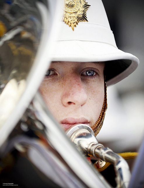 A member of the Royal Marines band service pictured during an event at HM Naval Base Clyde in Scotland.