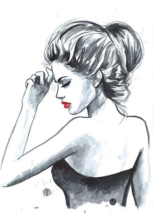 Print from Original Watercolor Fashion Illustration Modern Art Painting tittled Au Revoir via Etsy