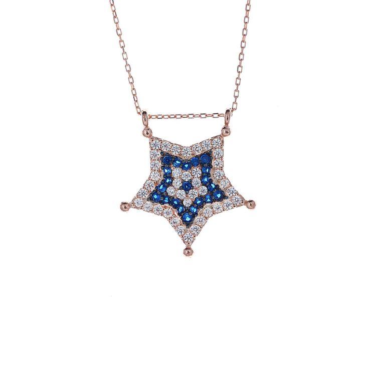 Zirkon Taşlı Yıldız Gümüş Kolye Fiyat: 49 TL