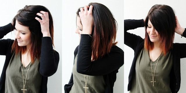 Short Ombre with dark brown and red. I want to do this . its not long but I would go for this short hair !!! ... (: