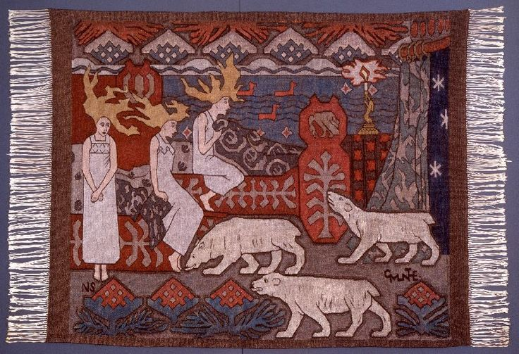 """""""Daughters of the Northern Lights""""  Tapestry  1908  Designed by Gerhard Munthe"""