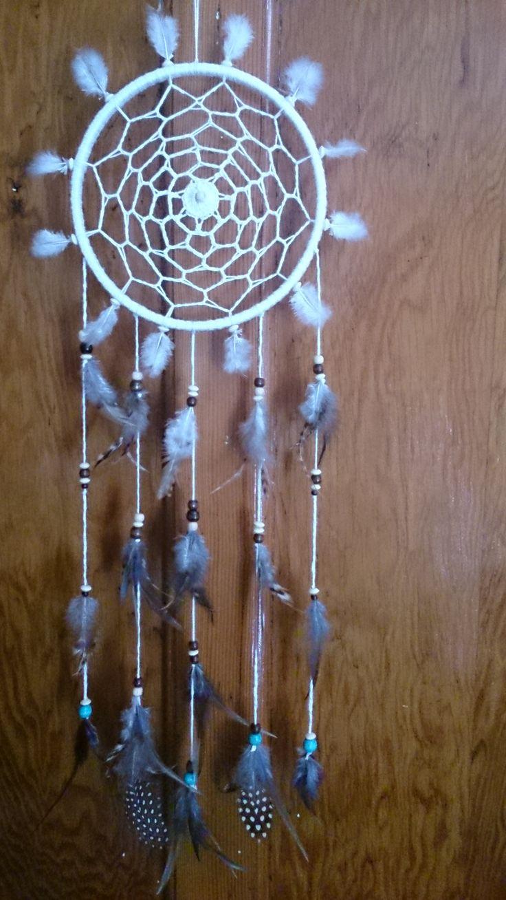 Pretty handmade crochet, feathers and beads dreamcatcher, mandala, wall art, tree of life